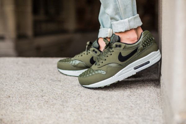 Nike Air Max 1 Woven - Carbon Green / Black - Lt BS Grey 2