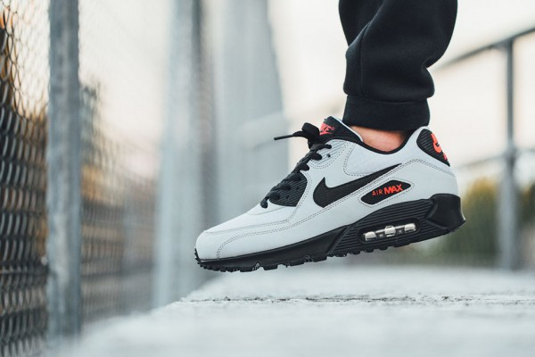 Nike Air Max 90 Essential - Wolf Grey / Black - Black - University Red 2