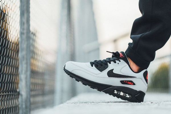 Nike Air Max 90 Essential - Wolf Grey / Black - Black - University Red 3