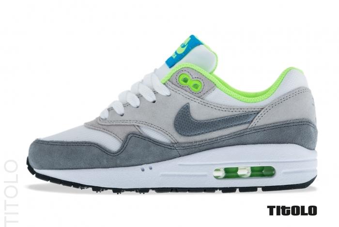 Nike Air Max 1 (GS) WhiteMetallic Cool Grey Neutral Grey