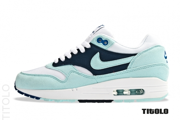 sports shoes 73022 7ad09 Nike Wmns Air Max 1 White Mint Candy-Obsidian