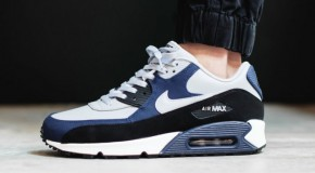 Nike Air Max 90 Leather – Wolf Grey / Midnight Navy – Black