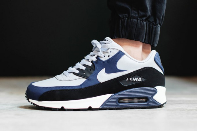 Nike Air Max 90 Leather (GS) Midnight Navy White Black | Footshop